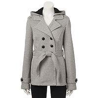 Juniors' Sebby Belted Fleece Trench Coat