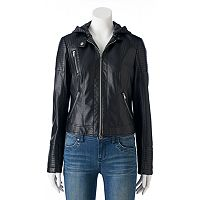 Juniors' Sebby Knit & Faux-Leather Jacket