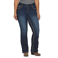 Plus Size Rhythm in Blues Embellished Contrast Stitch Bootcut Jeans