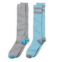 Girls 4-16 Cuddl Duds 2-pk. Striped Lurex Knee-High Socks