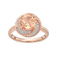 14k Rose Gold Over Silver Simulated Morganite & Lab-Created White Sapphire Swirl Ring