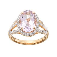 14k Gold Over Silver Rose de France Amethyst & Lab-Created White Sapphire Halo Ring