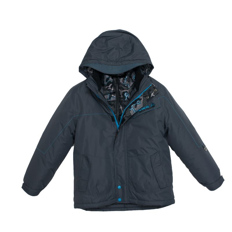 Boys 4-7 Big Chill Hooded Camouflage Heavyweight 3-in-1 Systems Jacket, Boy's, Size: 6, Grey (Charcoal)