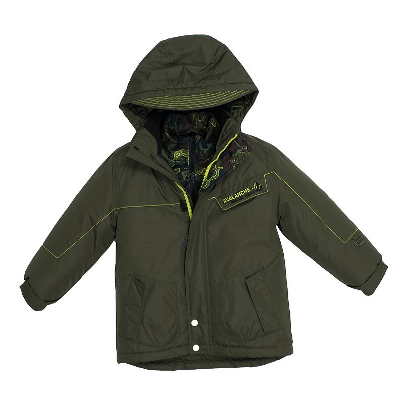 Boys 4-7 Big Chill Hooded Camouflage Heavyweight 3-in-1 Systems Jacket, Boy's, Size: 7, Dark Green