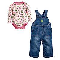 Baby Girl John Deere Print Bodysuit & Denim Overalls Set