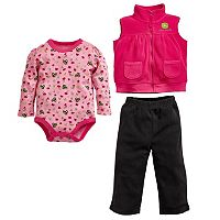 Baby Girl John Deere Tractor Bodysuit, Fleece Vest & Pants Set
