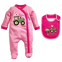 Baby Girl John Deere Tractor Sleep & Play & Bib Set