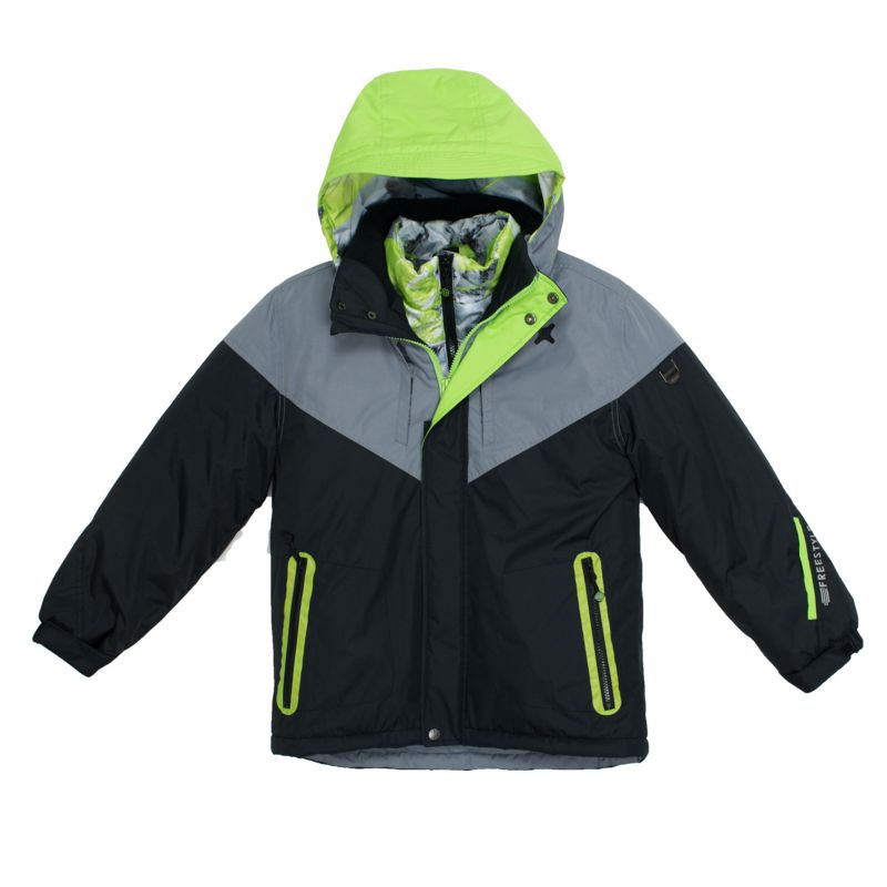 Boys 4-7 Big Chill Hooded Geometric Mountain Heavyweight 3-in-1 Systems Jacket Vest, Boy's, Size: 4, Black