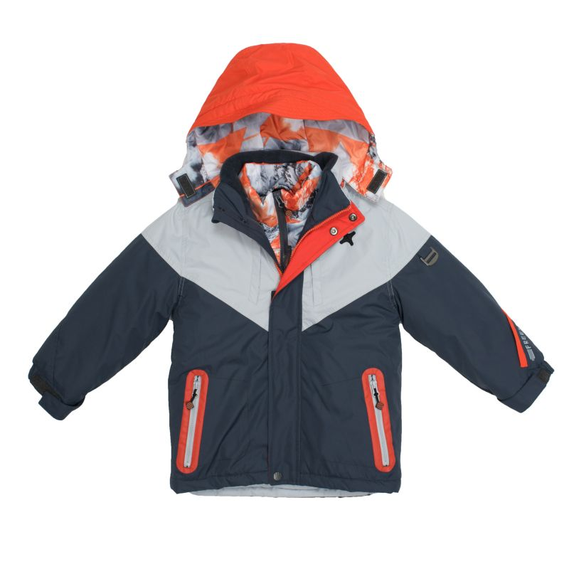Boys 4-7 Big Chill Hooded Geometric Mountain Heavyweight 3-in-1 Systems Jacket Vest, Boy's, Size: 6, Grey (Charcoal)