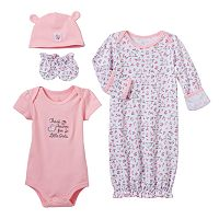 Baby Girl Baby Starters 4-pc. Bodysuit & Floral Gown Set