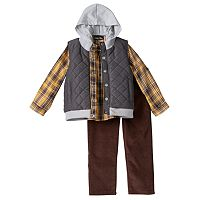 Toddler Boy Only Kids Apparel Quilted Vest, Plaid Shirt & Corduroy Pants Set
