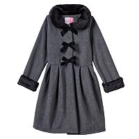 Girls 4-6x Sophie Rose Faux-Fur Bow Coat