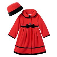 Toddler Girl Sophie Rose Velvet-Trim Bow Fleece Coat & Hat Set