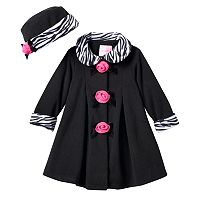 Toddler Girl Sophie Rose Rosette Fleece Coat & Hat Set