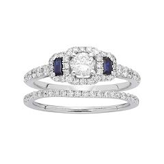 14k White Gold 1 Carat T.W. IGL Certified Diamond & Sapphire Halo Engagement Ring Set by