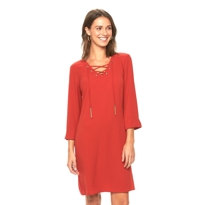 Womens MSK Lace-Up Crepe Shift Dress