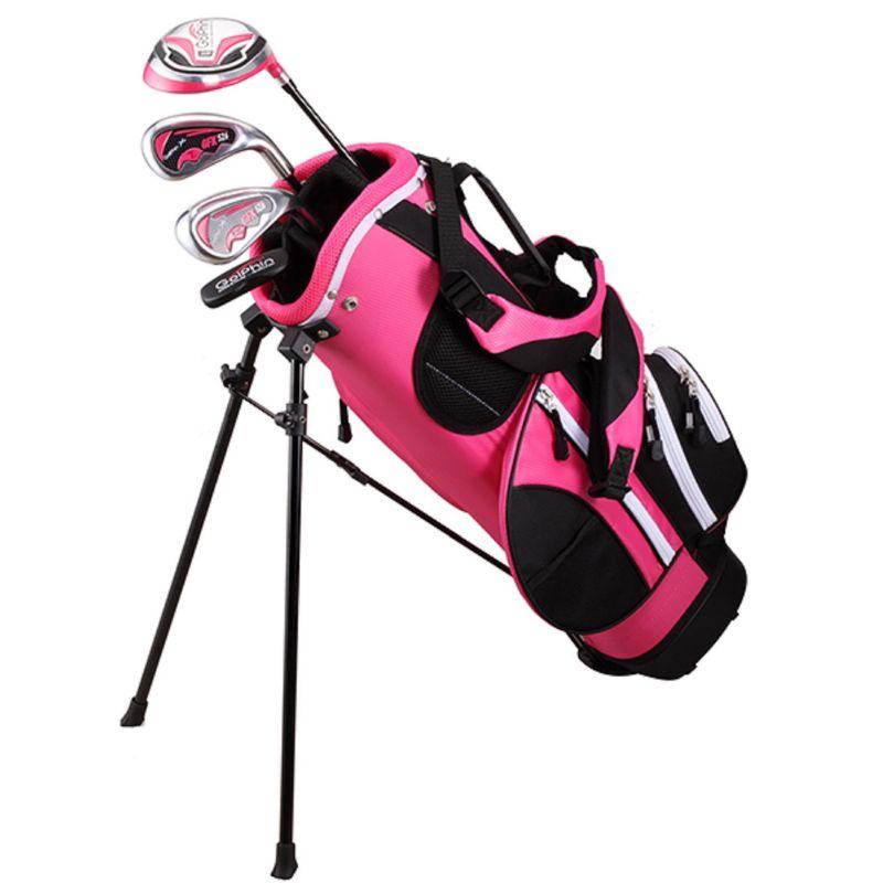 "Kids Golphin 43""-47"" Left Hand Complete Golf Clubs & Stand Bag Set, Pink thumbnail"