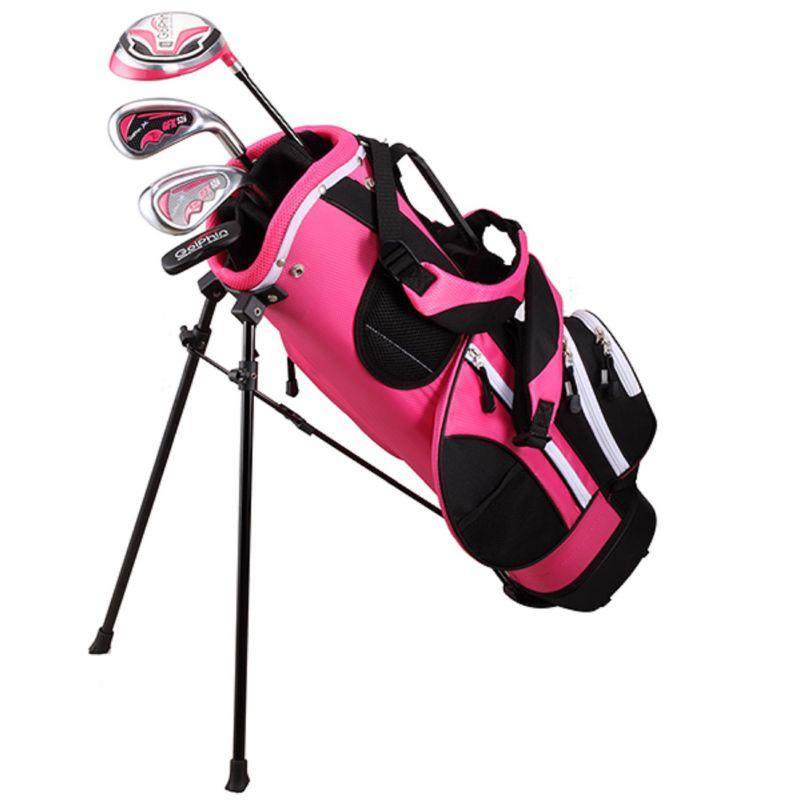 "Kids Golphin 47""-51"" Left Hand Complete Golf Clubs & Stand Bag Set, Pink thumbnail"