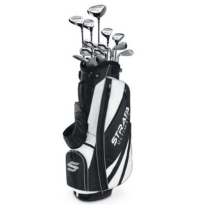Men's Callaway Strata Ultimate Left Hand Golf Clubs & Stand Bag Set, Black