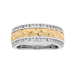 Two Tone 14k Gold 1/3 Carat T.W. Diamond Hammered Wedding Ring by