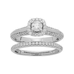 14k Gold 1 Carat T.W. IGL Certified Diamond Halo Engagement Ring Set by