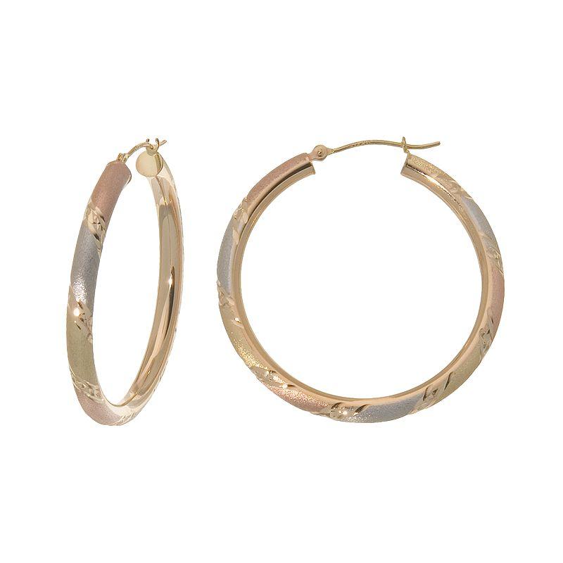 New York Gold Designs 14k Gold Tri-Tone Stripe Hoop Earrings