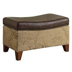 Armen Living Rectangle Map Storage Ottoman by