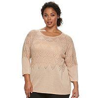 Plus Size Design 365 Chevron Open Knit Elbow Sweater