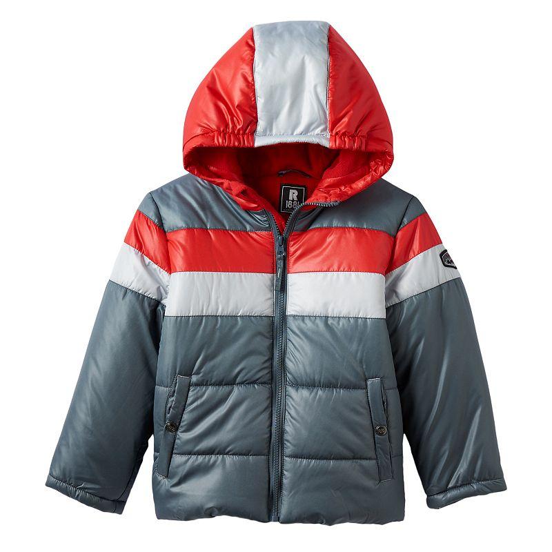 Boys 4-7 Rothschild Colorblocked Hooded Fleece-Lined Puffer Jacket, Boy's, Size: 4, Dark Grey