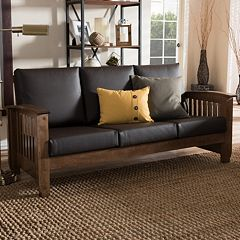 Baxton Studio Charlotte Faux-Leather Sofa by