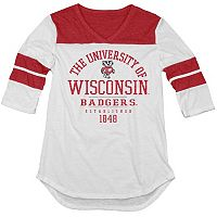 Juniors' Blue 84 Wisconsin Badgers Arm Stripe Tee