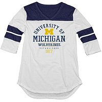 Juniors' Blue 84 Michigan Wolverines Arm Stripe Tee