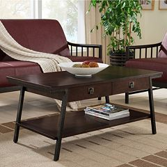 Leick Furniture 2-Drawer Walnut Finish Coffee Table by