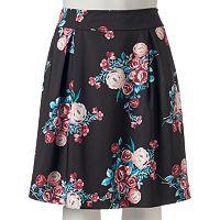 Juniors' Plus Size HeartSoul Pleated Floral Skirt