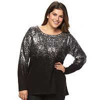 Plus Size Design 365 Foiled Crewneck Sweater