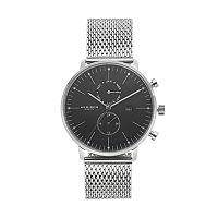 Akribos XXIV Men's Stainless Steel Mesh Dual Time Swiss Watch