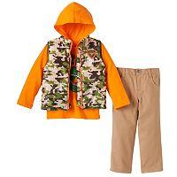 Toddler Boy Boyzwear Camouflage Vest, Hooded T-Rex Tee & Pants Set