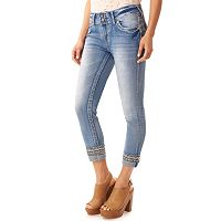 Juniors' Wallflower Luscious Curvy Embellished Cuffed Capri Jeans