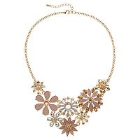 Apt. 9® Pink Glitter Floral Statement Necklace