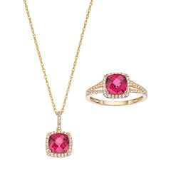 10k Gold Lab-Created Ruby & White Sapphire Halo Jewelry Set by