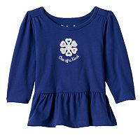 Baby Girl Jumping Beans® Embroidered Peplum-Hem Top