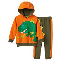 Baby Boy Boyzwear 3D Dinosaur Spikes Hooded Pullover & Pants Set