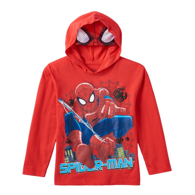Boys 4-7 Marvel Spider-Man Mask Hooded Tee, Boy's, Size: L (7) , Red