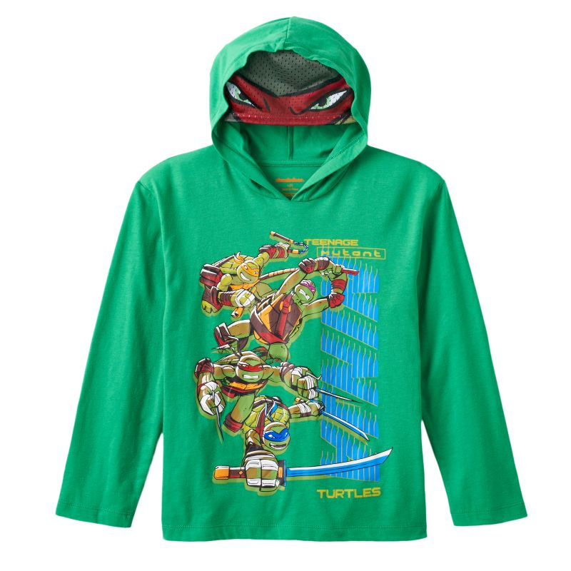 Boys 4-7 Teenage Mutant Ninja Turtles Mask Hooded Tee, Boy's, Size: L (7) , Dark Green