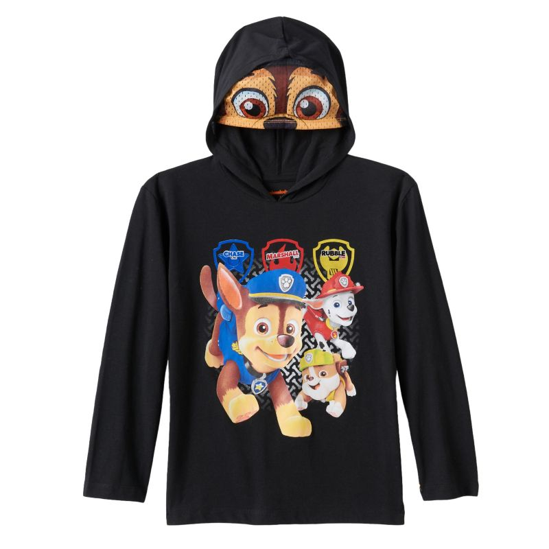 Boys 4-7 Paw Patrol Chase, Marshall & Rubble Hooded Mask Tee, Boy's, Size: L (7) , Black