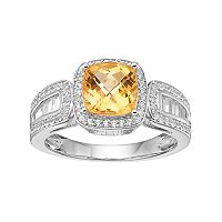 Sterling Silver Citrine & Lab-Created White Sapphire Halo Ring