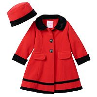 Baby Girl Sophie Rose Velvet-Trim Fleece Coat & Hat Set
