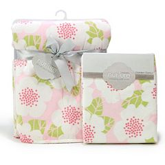 Nurture Garden District Plush Blanket and Changing Pad Cover Nursery Set by