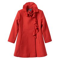Girls 4-6x Rothschild Midweight Faux-Wool Ruffle-Front Coat