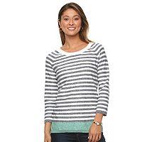 Women's Caribbean Joe Striped Crewneck Sweater
